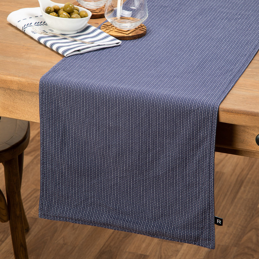 Chemin de table bleu effet denim - Photo 0