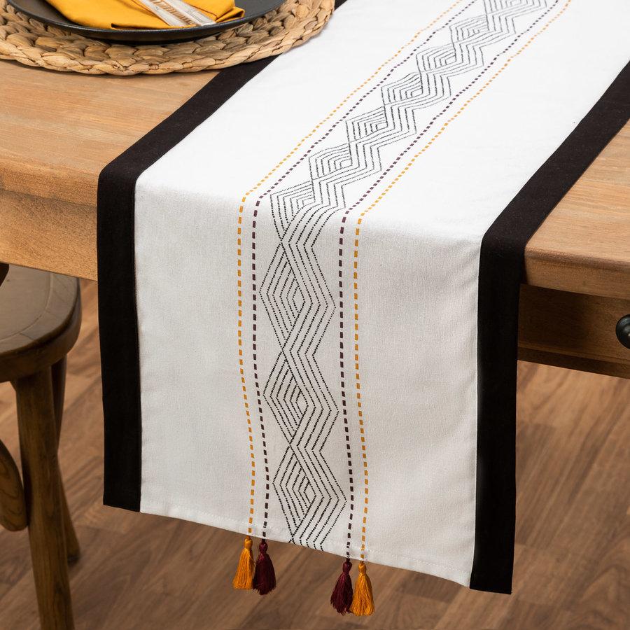 Chemin de table à motifs aztèques pourpre et jaune doré - Photo 0