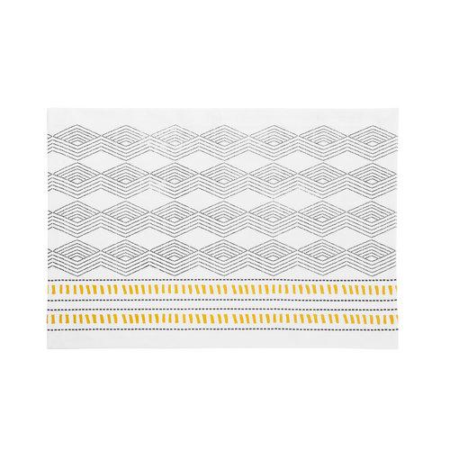 Napperon blanc à motifs aztèques noirs et jaunes