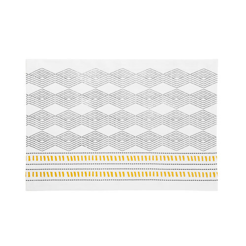White Placemat with Black and Yellow Aztec Patterns