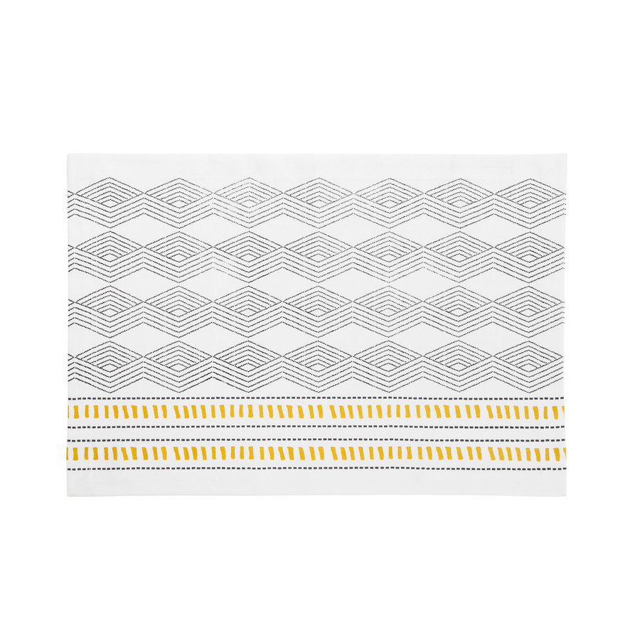 White Placemat with Black and Golden Yellow Aztec Patterns - Photo 0