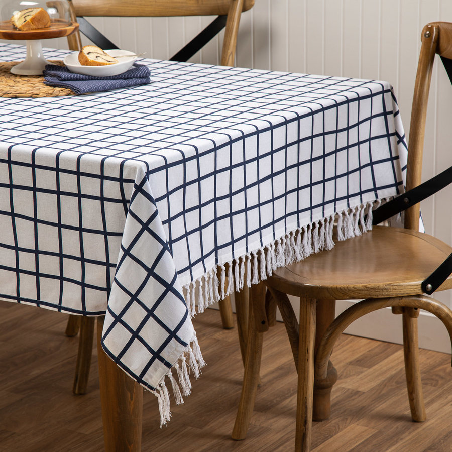 Blue and White Checkered Tablecloth - Photo 0