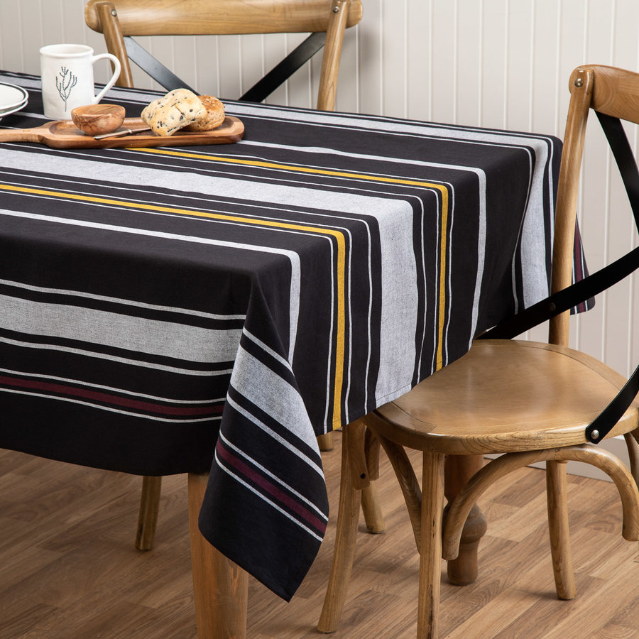 Black Tablecloth with White and Orange Stripes - Photo 0