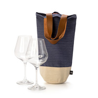 Blue Denim-Look Wine Bag with Leather Straps