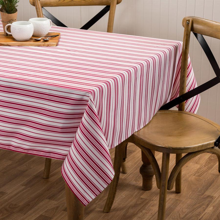Red-Striped Cream-Coloured Tablecloth - Photo 0