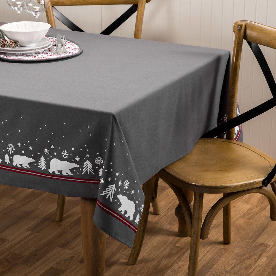 Solid Grey Polar Bear Tablecloth - Photo 0