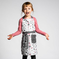 Holiday Print Children's Apron with Dark Grey Accents