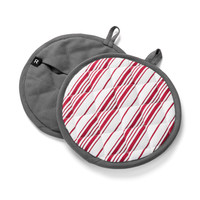 Red and Cream Striped Pot Holders