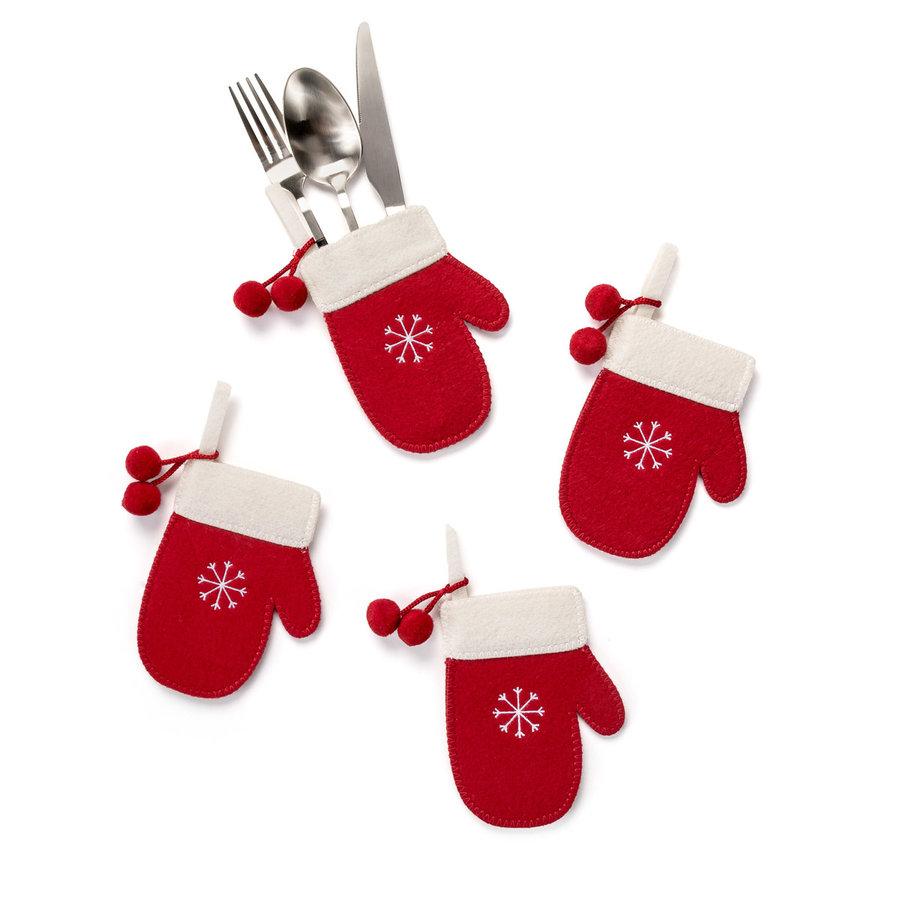 Pochette à ustensiles style mitaine rouge à pompons - Photo 0