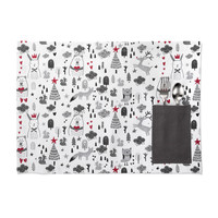 Children's Holiday Print Placemat with Dark Grey Accents