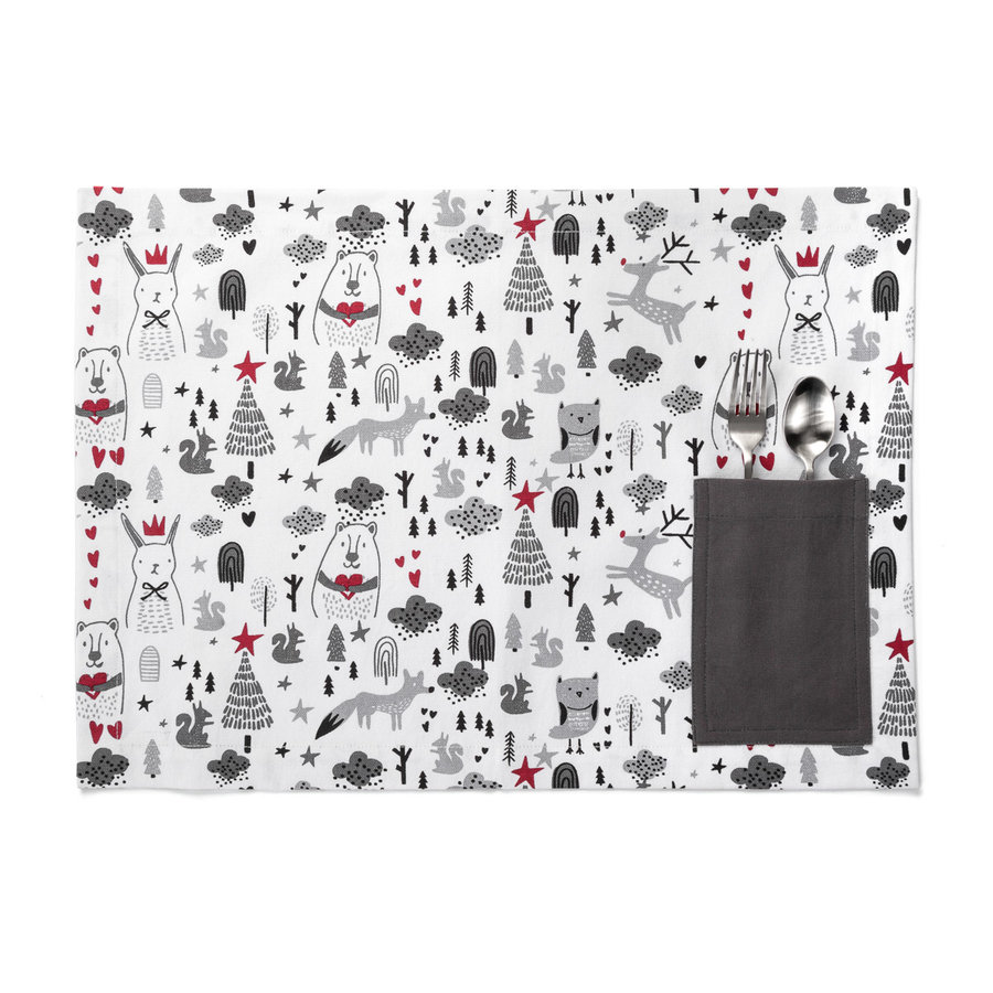 Children's Holiday Print Placemat with Dark Grey Accents - Photo 0