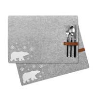 Grey Polar Bear Placemat