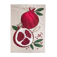 Beige Pomegranate Print Tea Towel
