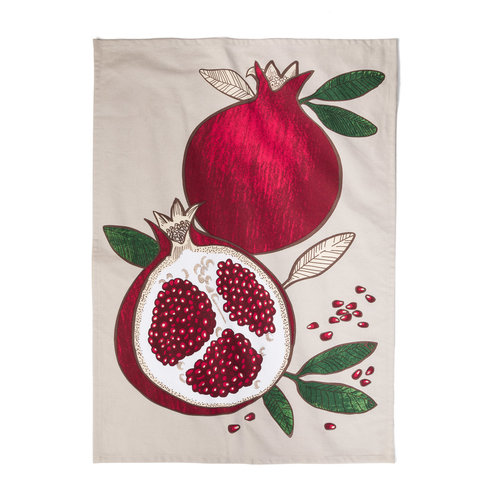 Pomegranate Print Tea Towel