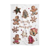 White Gingerbread Print Tea Towel