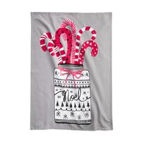 Pale Grey Candy Cane Print Tea Towel