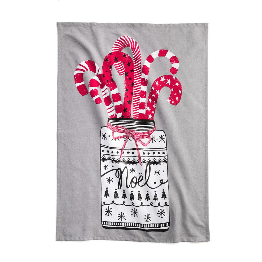 Pale Grey Candy Cane Print Tea Towel - Photo 0