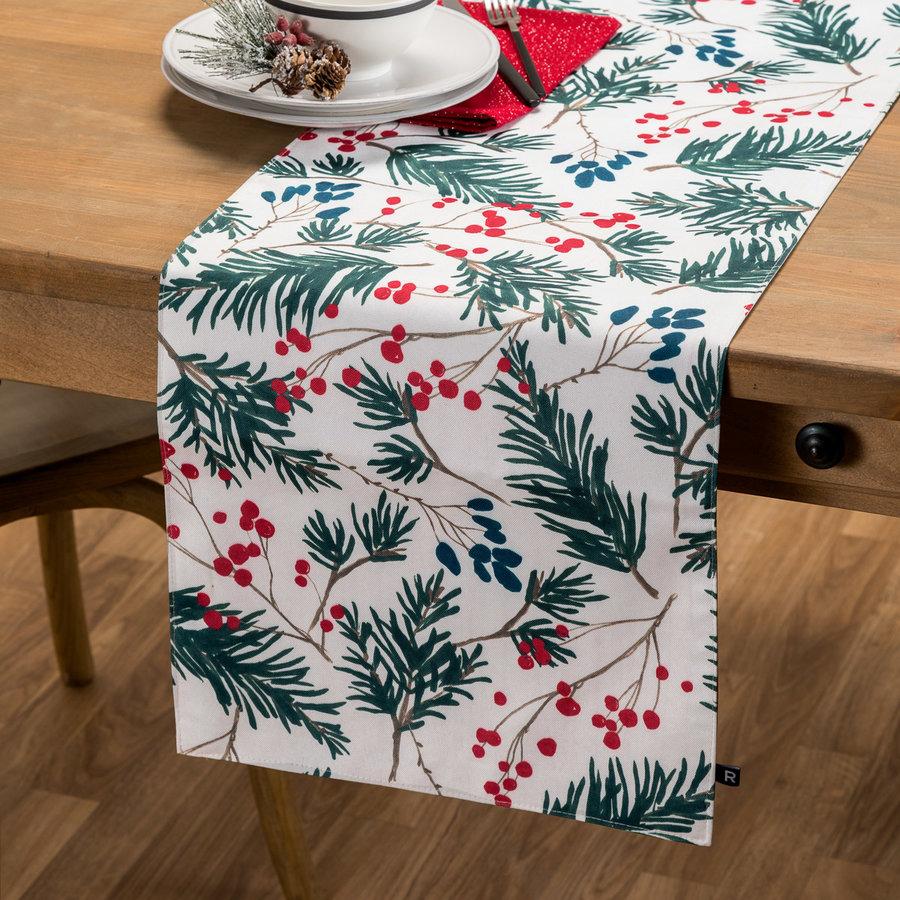 Chemin de table réversible à motif sapin ou à rayures - Photo 0
