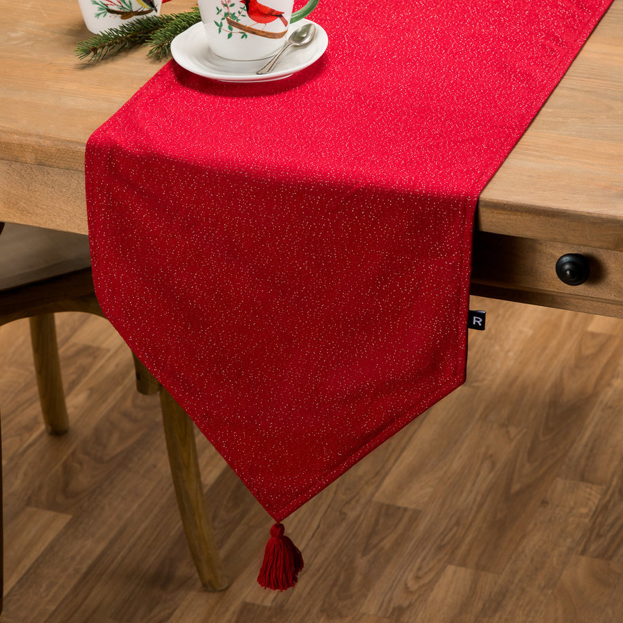 Solid Red Table Runner with Pompoms - Photo 0