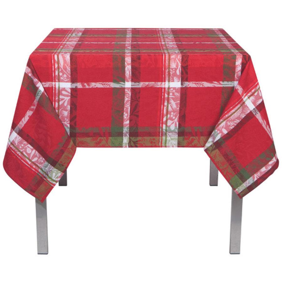 Nappe rouge à rayures écossaises et motifs de feuilles - Photo 0