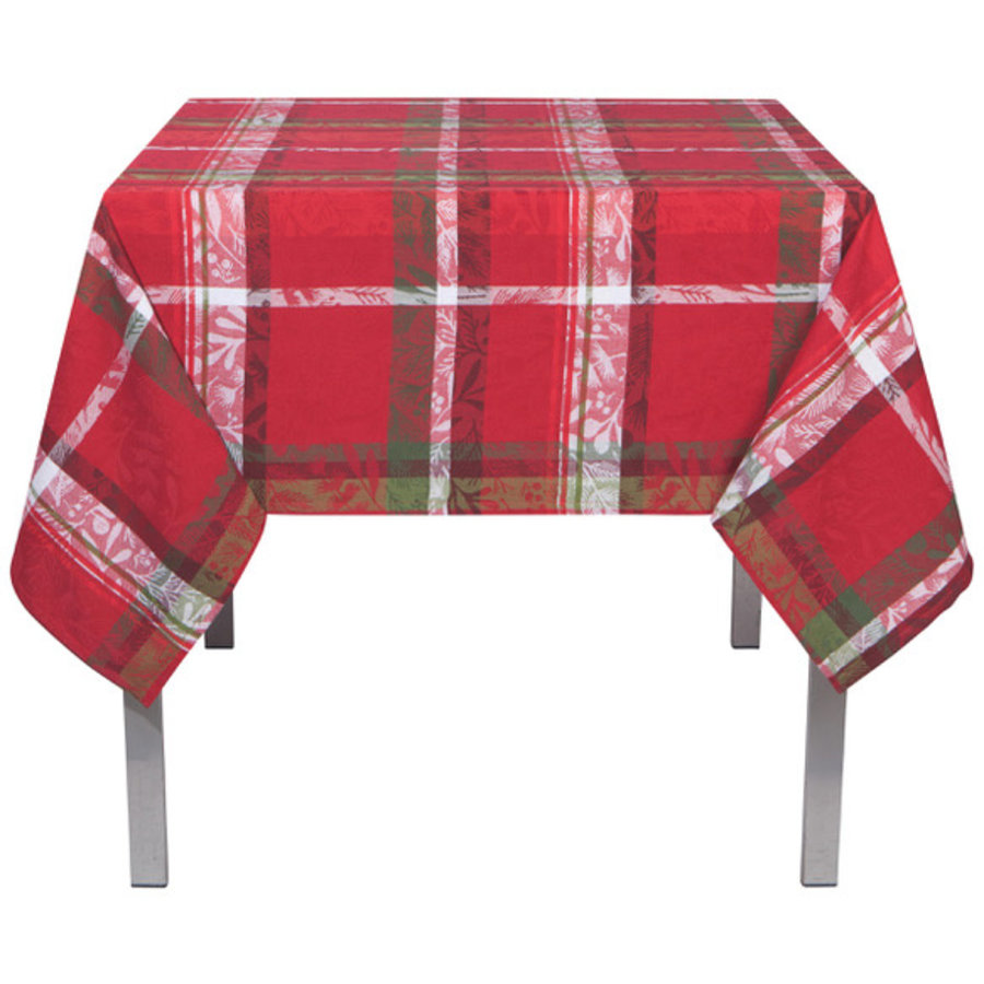 Red Tartan Tablecloth with Leaf Pattern - Photo 0