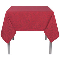 Red Tablecloth with Burgundy Leaf Print