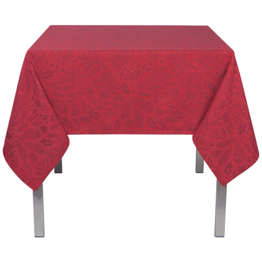 Red Tablecloth with Burgundy Leaf Print - Photo 0