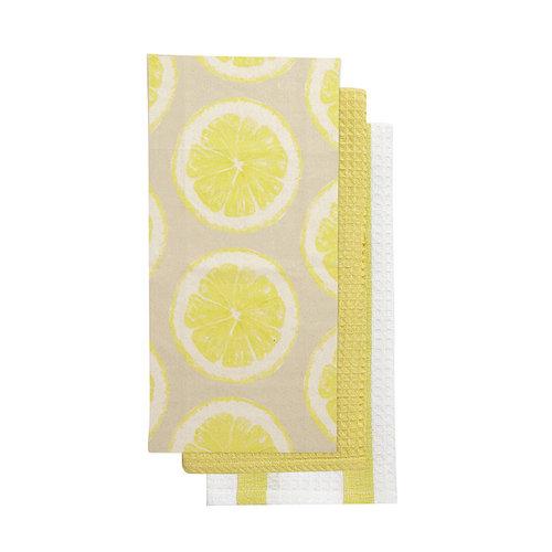 Ensemble de linges à vaisselle imprimé citron