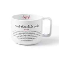 Tasse à café avec recette gâteau au chocolat