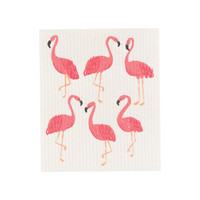 Solid Sponge Cloth, Flamingo Print