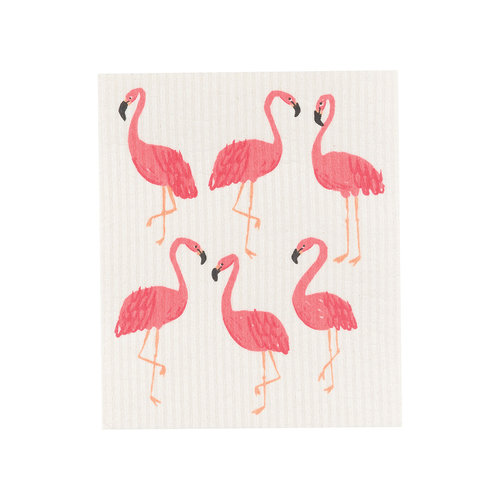 Solid Sponge Cloth, Flamingo Print
