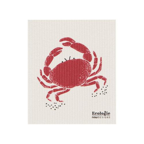 Chiffon éponge solide, imprimé crabe