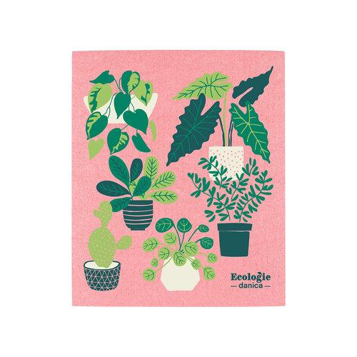Chiffon éponge solide, imprimé plantes