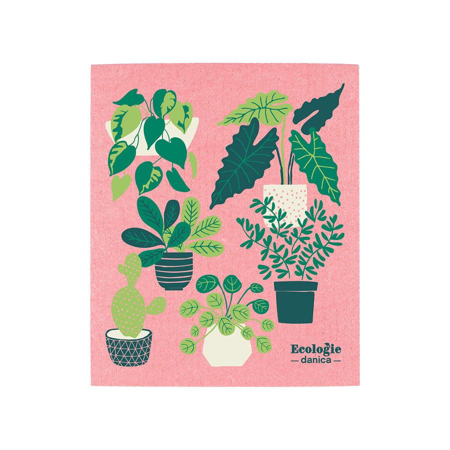 Chiffon éponge solide, imprimé plantes - Photo 0