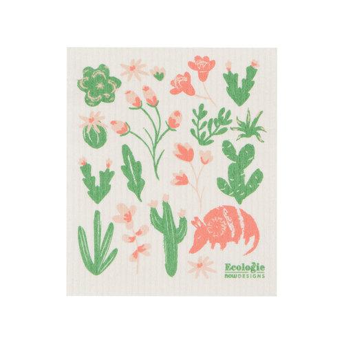 Chiffon éponge solide, imprimé fleurs et cactus