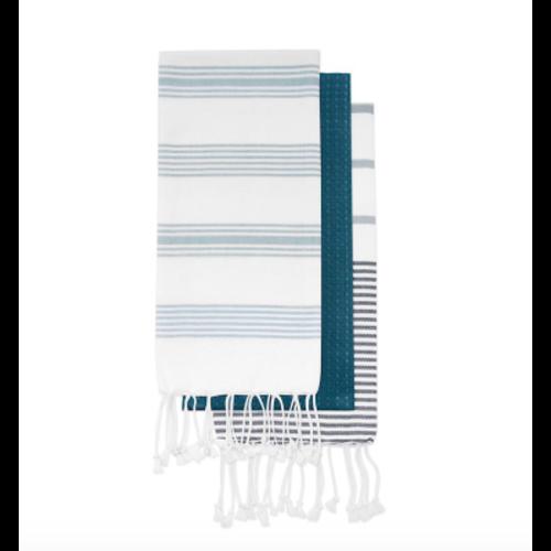 Ensemble de linges à vaisselle à rayures bleues