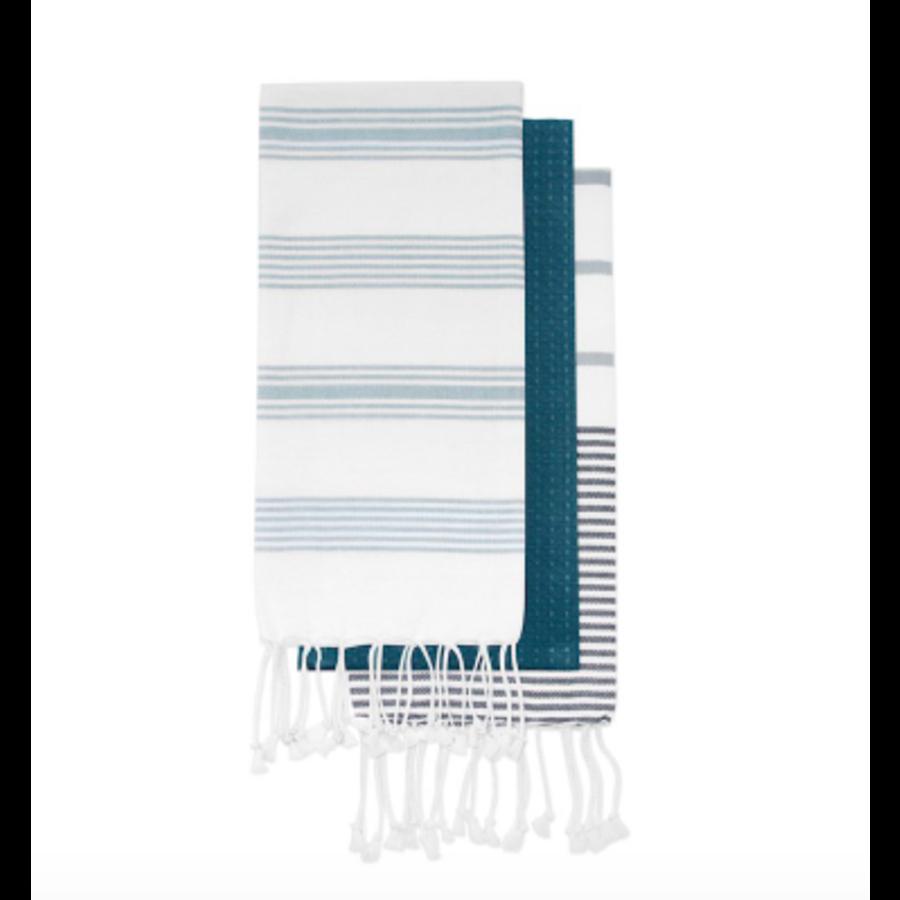 Ensemble de linges à vaisselle à rayures bleues - Photo 0