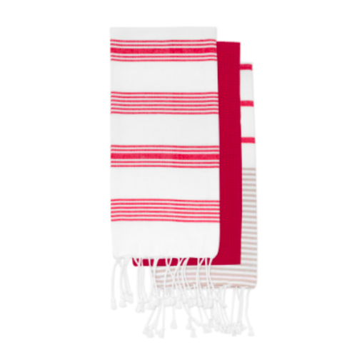 Red Striped Tea Towel Set