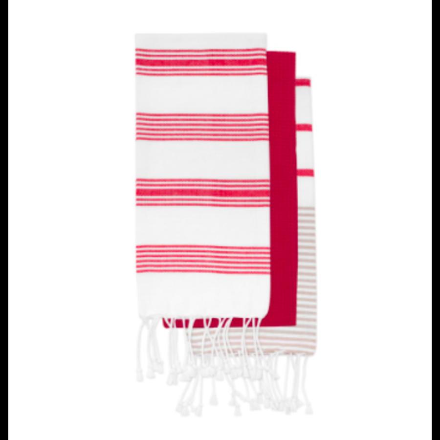 Red Striped Tea Towel Set - Photo 0