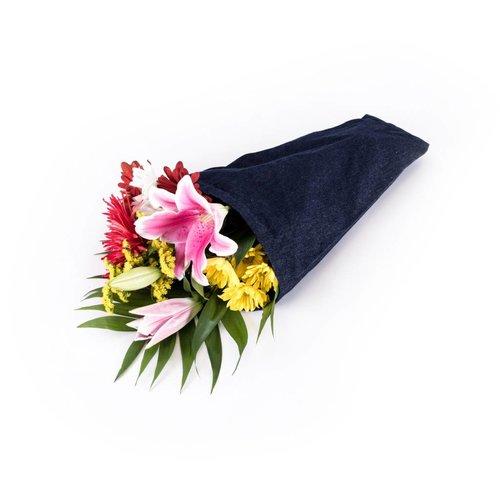 Sac à fleurs en denim