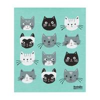 Essuie-tout en éponge à imprimé têtes de chat