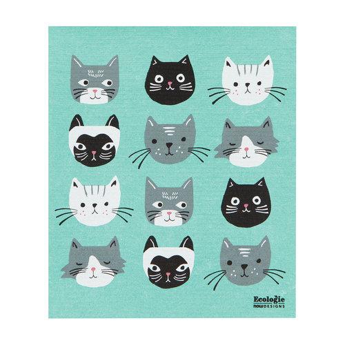 Cat's Meow Print Sponge Towel