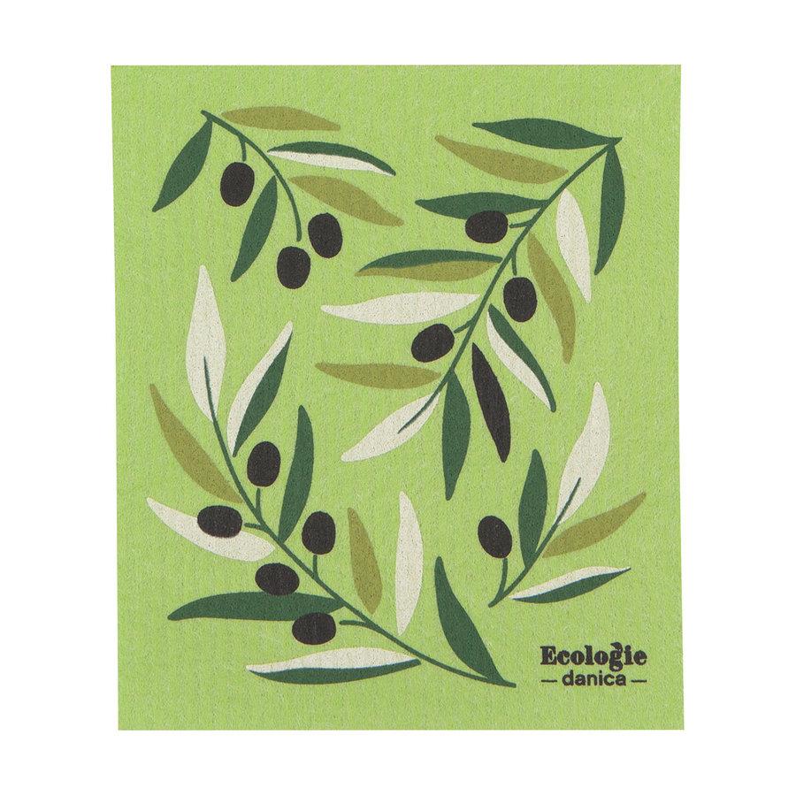 Essuie-tout en éponge à imprimé olives - Photo 0