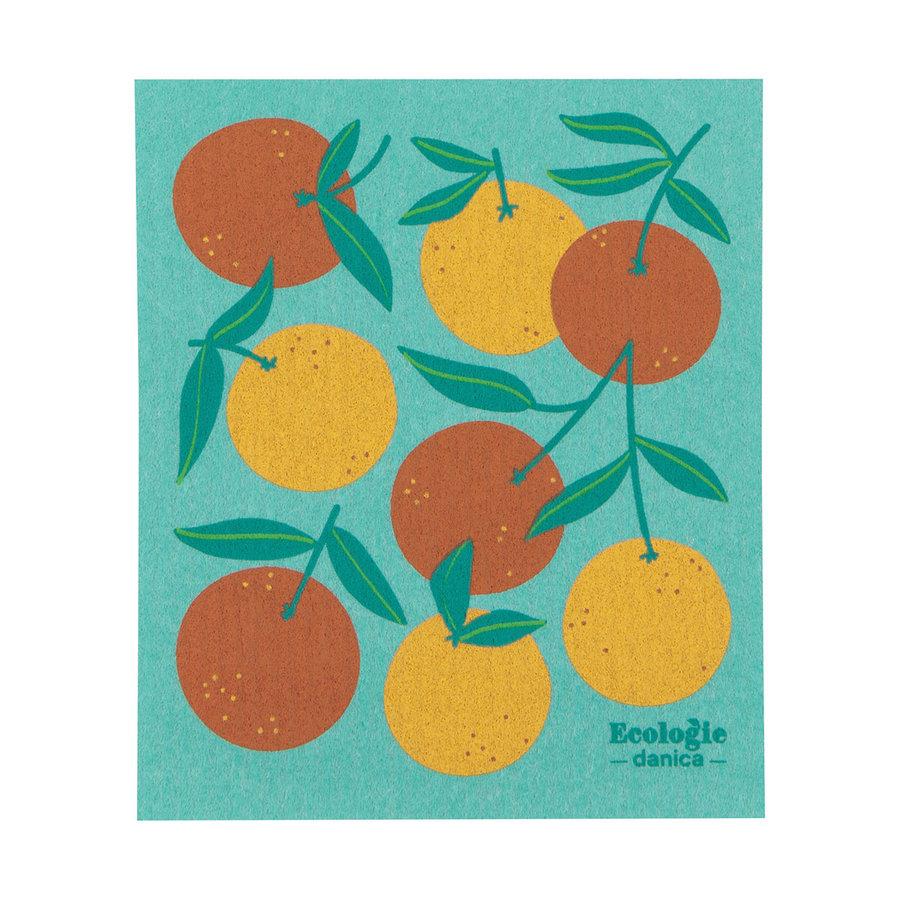 Essuie-tout en éponge à imprimé oranges - Photo 0