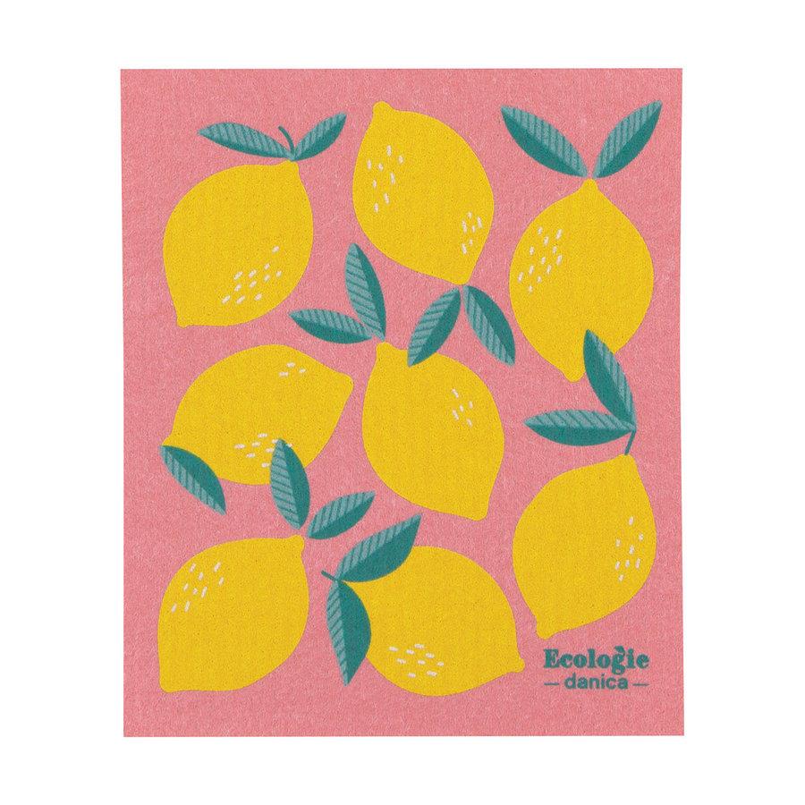 Essuie-tout en éponge à imprimé citrons - Photo 0