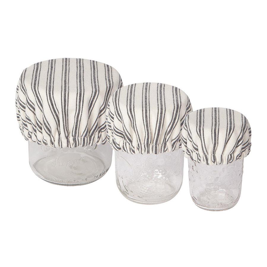 Mini couvre-bols en toile tissée rayée - Photo 0