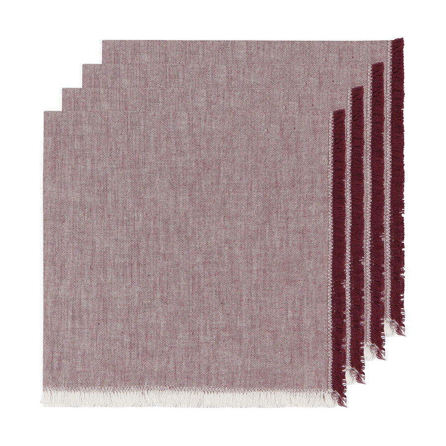 Serviettes en chambray rouge bourgogne - Photo 0