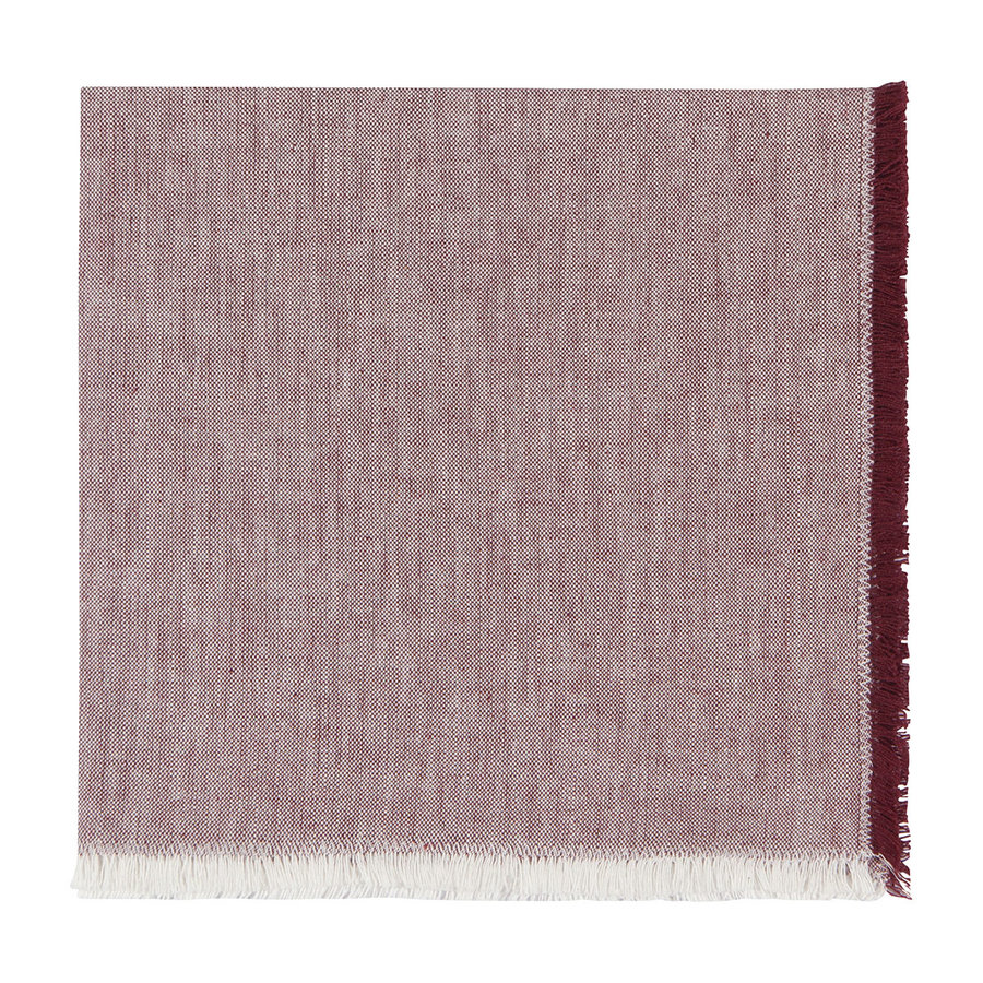 Serviettes en chambray rouge bourgogne - Photo 1