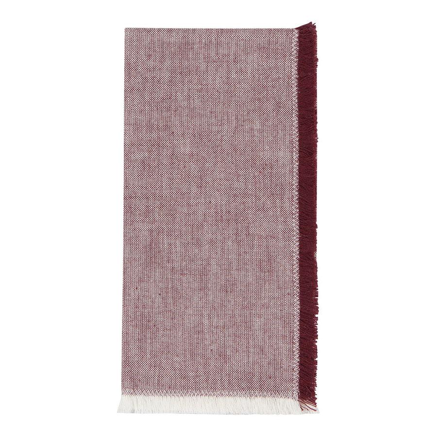Serviettes en chambray rouge bourgogne - Photo 2