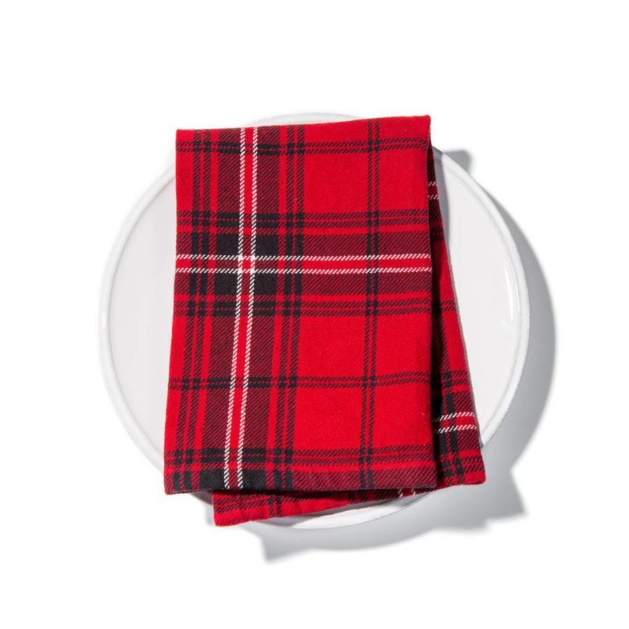 Serviettes de table rouges à carreaux - Photo 1